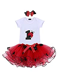 It's My 1st 2nd Birthday Outfit Baby Girl Romper Tutu Skirt Bowknot Headband Set