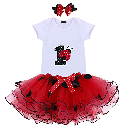 Baby Girls 3PCS Ladybug One Polka Dots 1st Birthday Outfit Romper with Tutu Skirt and Headband Set Red -