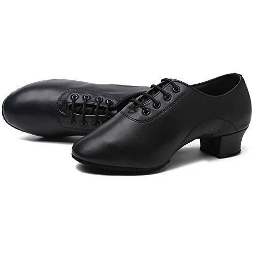 Azbro Hombre Zapatos de Baile Latín Correa-arriba con Puntera Punta Negro