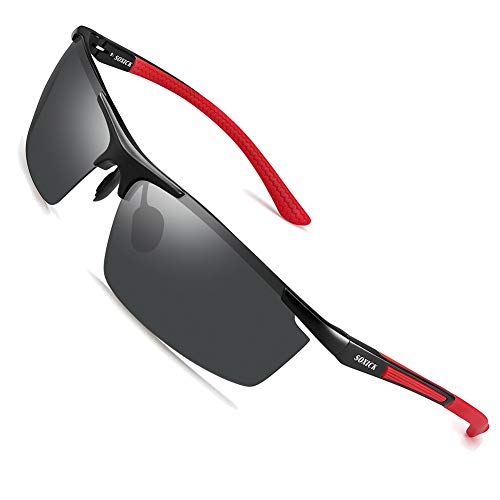 SOXICK Men's Sports Polarized Sunglasses - Fashion UV Protection Rectangular Half Frame Sun ()