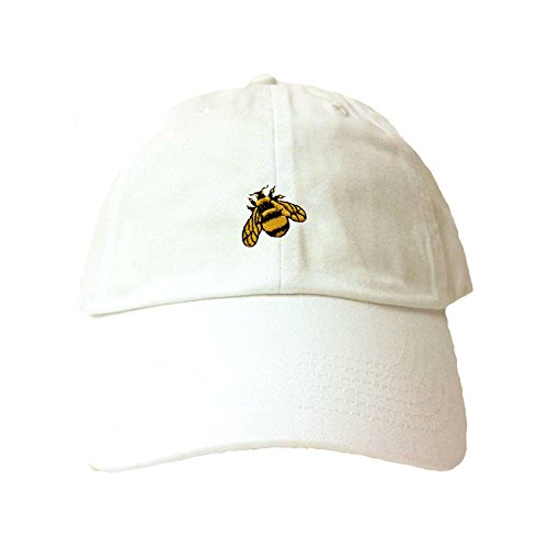 Go All Out Adjustable White Adult Bumble Bee Embroidered Dad Hat