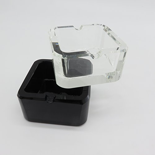 Tianyuan Color Smoker Glass Crystal Ashtray Square Cigarette Clear Black Machine Pressing 2.8