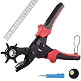 ROHSCE Leather Hole Punch, (Full Set) Belt Hole Puncher, Heavy Duty Revolving Punch Plier Tool with 2 Extra Punch Plates and Ruler, Multi Sized Puncher for Belts, Crafts, Card, Rubber, etc. (Red)