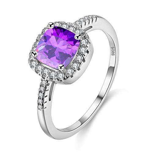 Uloveido Rhodium Plated Solitaire Rings for Women, Square Ring, Silver Color Engagement Wedding Band Rings for Ladies with Cubic Zirconia (Purple, Size 9) Y3100