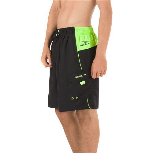 Speedo Mens Sport Volley Shorts Workout & Swim Trunks, Black, Large