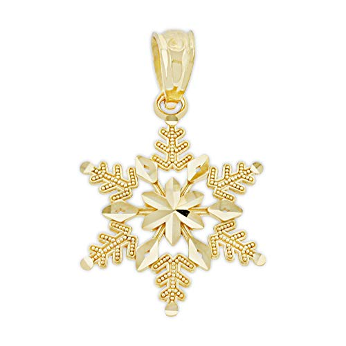 Charm America - Gold Holiday and Christmas Charms - 14 Karat Solid Gold (Gold Snowflake)