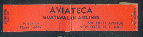 Aviateca Guatemalan Airlines airline matchbook 10-sticks unused.