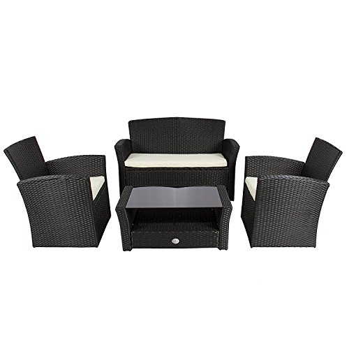 Cloud Mountain 4 PC Wicker Rattan Furniture Set Sofa Cushioned Patio Wicker Rattan Furniture Set Chair Table Set Bench Loveseat Outdoor Lawn Sectional Seat with Glass Top Table, Black