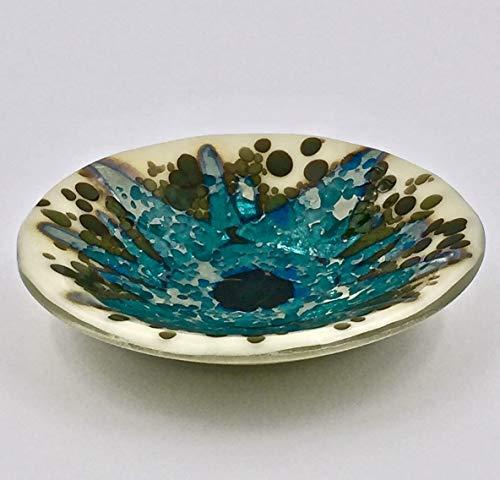 Blue and Green Sunburst Design on Fused Glass Decorative Bowl