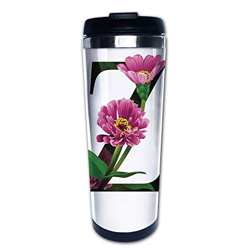Stainless Steel Insulated Coffee Travel Mug,Stems Leaves and Letter Z Nature Inspired Alphabet,Spill Proof Flip Lid Insulated Coffee cup Keeps Hot or Cold 13.6oz(400 ml) Customizable printing