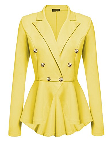 (Cekaso Women's Peplum Blazer One Button Crop Frill Ruffle Hem High Low Work Blazer, Yellow, USsize XL=Tagsize XXL)