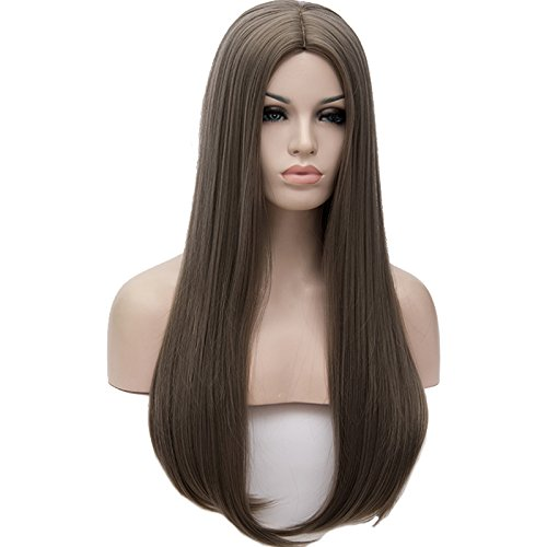 OneUstar Women's Synthetic Long Straight Wig 24 Inch Heat Resistant Full Hair Party Cosplay Costume Wig, Dark Gray ()