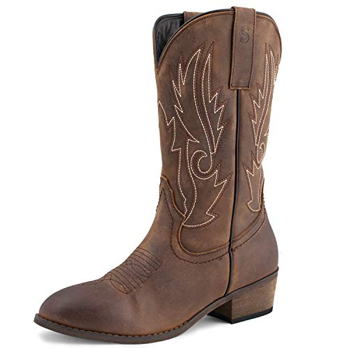 (SheSole Women's Full-Grain Leather Cowboy Boots, Stylish High Boots for Women)