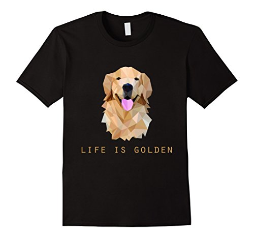 Mens Life is Golden Retriever Dog T-Shirt Medium Black