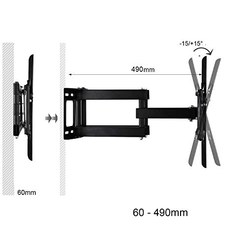 Articulating Bracket for LCD OLED QLED Plasma TV Screens 1080p HD 4K 600x400mm up to 176 lbs Cable