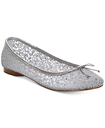 Price comparison product image Adrianna Papell Womens Shirley Closed Toe Ballet,  Silver Valencia,  Size 6.5