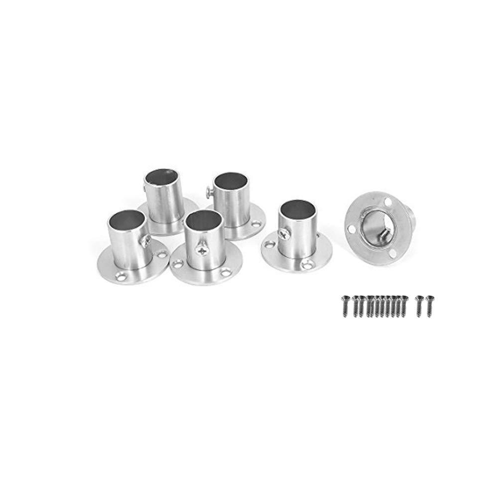 acero inoxidable,Plata-19mm Wohlstand 6 piezas Ajustable Armario Rail Rod poste Socket End soporte de apoyo Brida