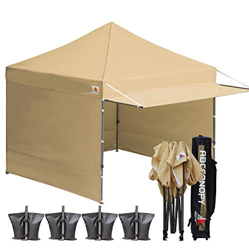 ABCCANOPY 10x10 Easy Pop up Canopy Tent Instant Shelter Commercial Portable Market Canopy Matching Sidewalls, Weight Bags, Roller Bag,Bonus 23 Square Feet of Canopy Awning (Beige-1)