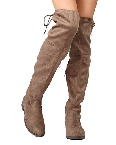 FF72 Thigh Boot Taupe Riding Nature Women Breeze Drawstring High Faux Suede qfz6yw1A