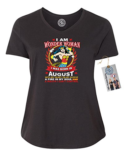 Superhero T Shirts Plus Size (Wonder Woman Born In August Superhero Plus Size Womens V Neck T-Shirt Black 3XL)