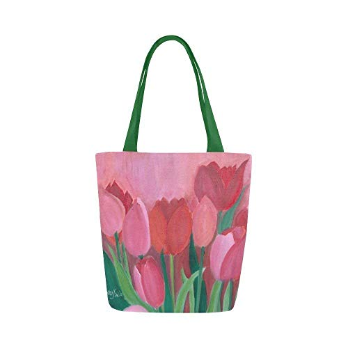 Tote Bag Tulips Canvas Shoulder Bag Pink Summer Flowers Floral for Women Girls - One Tulip Canvas