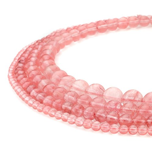 RUBYCA Watermelon Red Cherry Quartz Man-Made Glass Gemstone Round Loose Beads Jewelry Making 1 Strand 8mm - Nature Cherry Quartz Gemstone Bead