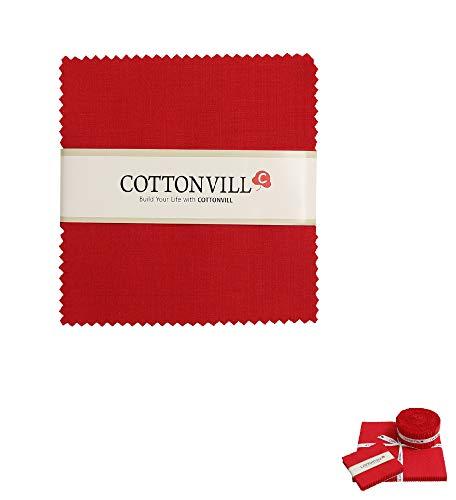 COTTONVILL Cotton Solid Precut Quilting Fabric Bundle 42 pcs, Red (5