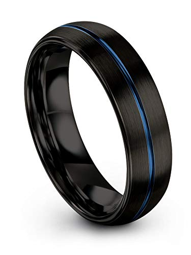 Chroma Color Collection Tungsten Carbide Wedding Band Ring 6mm for Men Women Blue Center Line and Black Interior with Dome Brushed Polished Comfort Fit Anniversary Size 11