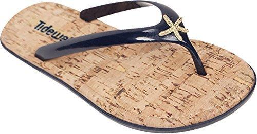 Tidewater Sandals Women's Sunset Flip Flop,Navy/Gold,US 6 M (Turtle Flip Flops)