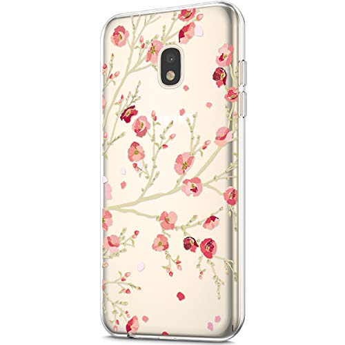 Price comparison product image ikasus Case for Galaxy J7 Pro 2017, Clear Art Panited Design Soft & Flexible TPU Ultra-Thin Transparent Flexible Soft Rubber Gel TPU Protective Case Cover for Galaxy J7 Pro 2017 Case, Pink Plum blossom