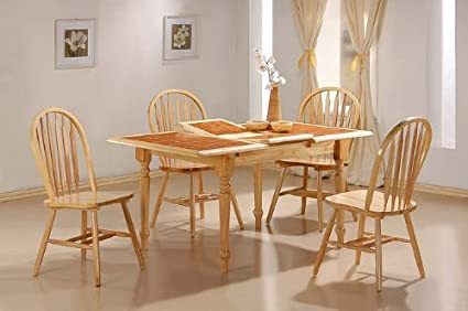5pc Natural Dining Table w/Terracotta Tile Top Arrow Back Chairs Set