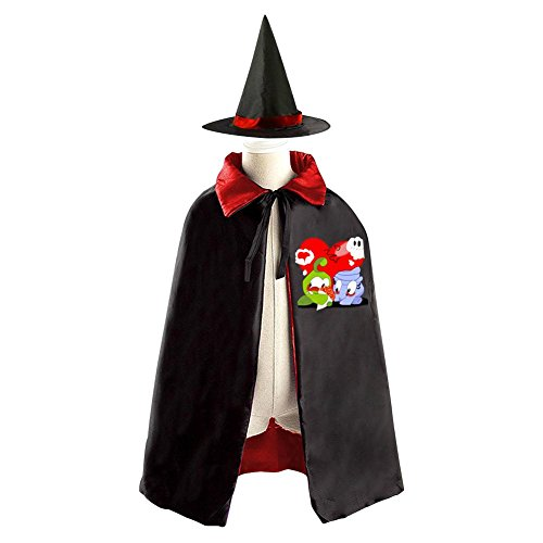 DBT My om nom Childrens' Halloween Costume Wizard Witch Cloak Cape Robe and (Cut The Rope Om Nom Costume)