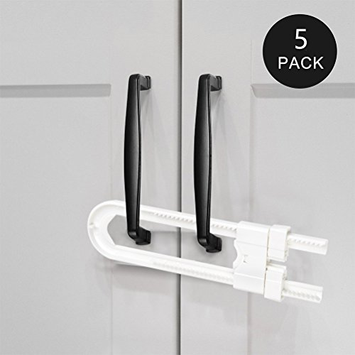 BUYGOO 5-Pack Sliding Cabinet Locks - U Shaped Child Safety Locks - Baby Proof Cabinet Latches for Doors, Knobs and Handles - White -