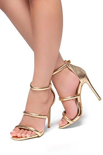Gold Heeled (Herstyle Lucid Wome's Heeled Sandal. With Stiletto Heel, Ankle Rounded Strap Rose Gold 10)
