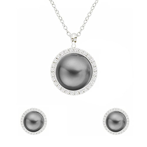 - D EXCEED Gift Idea Fashion Gray Faux Pearl Jewelry Set Crystal Necklace Earrings Set for Women Silver