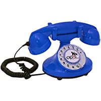 OPIS FunkyFon cable: Rotary dial disc telephone in the sinuous style of the 1920s with modern electronic bell (blue)