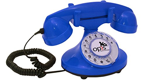 OPIS FunkyFon cable: Rotary dial disc telephone in the sinuous style of the 1920s with modern electronic bell - Phone Wall Bell