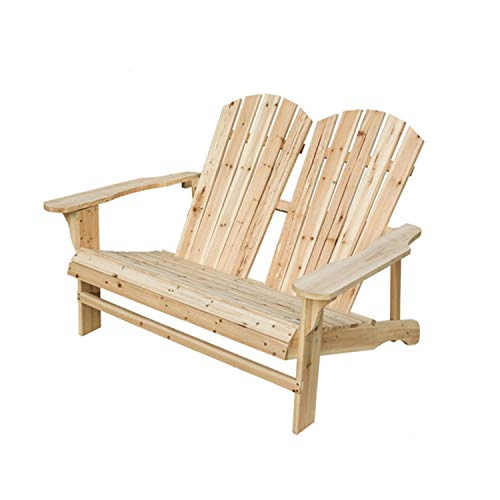 (LOKATSE HOME Wooden Double Adirondack Chair Loveseat, Natural)