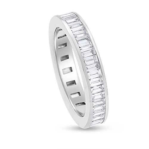 Baguette Diamond Eternity Wedding Band - 2.15 CT Natural Baguette Diamond Eternity Band in Solid 14k White Gold