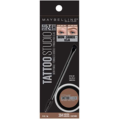 Maybelline New York Tattoostudio Brow Pomade Long Lasting, Buildable, Eyebrow Makeup, Auburn, 0.106 Ounce