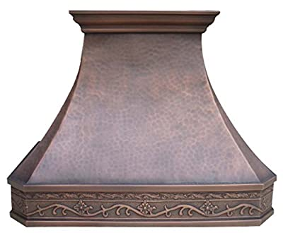 Sinda H3LA2 Hammered Copper Range Hood with Decorative Hand Embossed Pattern Wrapped Around Comes with Liner and Internal Motor