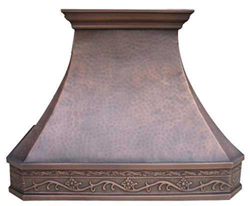 Sinda H3LA2 Hammered Copper Range Hood with Decorative Hand Embossed Pattern Wrapped Around Comes with Liner and Internal Motor (W30
