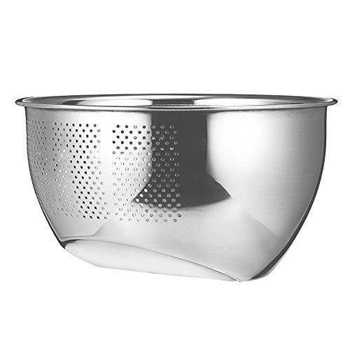 Bowl Drainer (Papaya Bay Stainless Steel Colander, Professional Kitchen Strainer/Washing Bowl for Vegetables/Fruit/Rice/Grains, Perforated Side Drainer)
