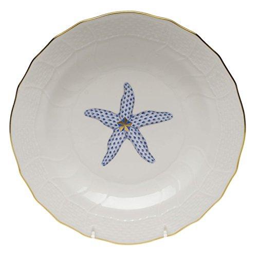 Herend Aquatic Dessert Plate Blue Starfish