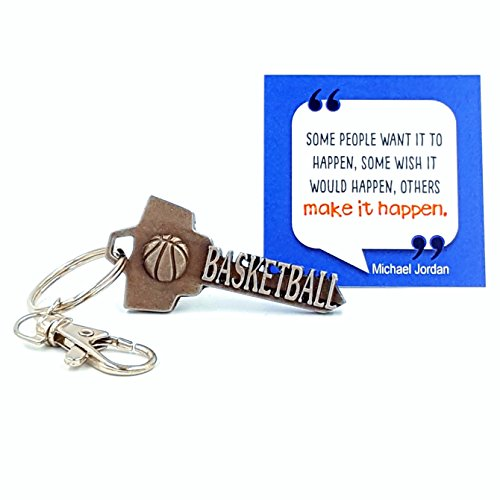 key2Bme BASKETBALL key - keychain & inspirational quote - the cool fun unique small sports team hoops gift under $10 for giving kids teens friends girls boys men women him her coach players