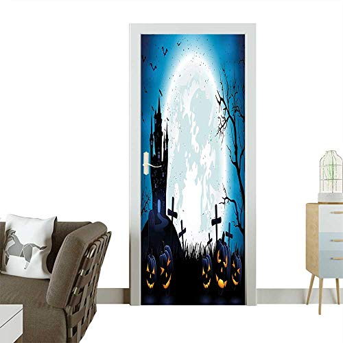 Door Sticker Spooky Concept with Halloween Icons Old Celtic Harvest Festival Figures in Dark Image Removable Door Decal for Home DecorW38.5 x H77 INCH -