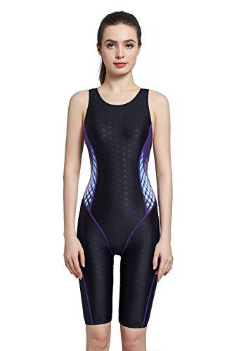 EASEA Women`s Backless Splice One Piece Swimsuit Black/Purple Pattern - Swimwear Competition Ladies