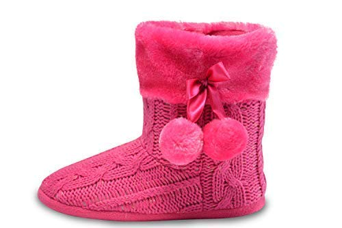 - Airee Fairee Slippers Womens Indoor Slipper Boots for Ladies Girls with Knitted Upper and Pom Poms (Medium-US 7-8, Pink)