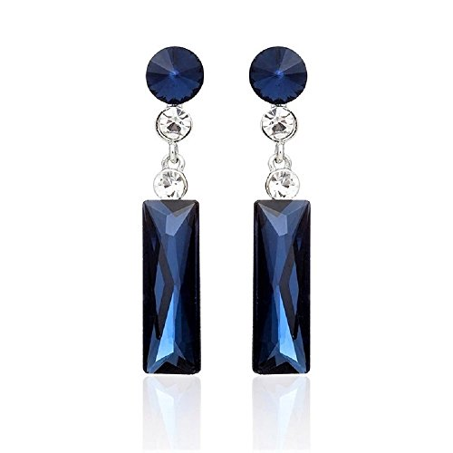 Big Rhinestone Dangle Drop Earrings (dark blue) ()