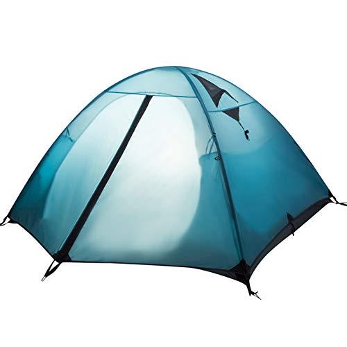 LALAWO Camping de montaña al Aire Libre, a Prueba de Viento, a Prueba de Lluvia, ventilación y ventilación de Doble Capa, Tres Estaciones, Poste de Aluminio, hogar Azul